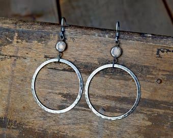 Rhinestone & Hammered Pewter Hoop Earrings