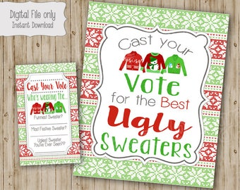 Ugly Sweater Voting Sign and Cards, Ugly Sweater Christmas Party, Christmas Party Invitation, Ugly Sweater Invite, instant download