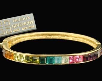 "Vintage Bijoux Givenchy Rainbow Princess Cut Rhinestone Bangle Bracelet 6 1/2"""