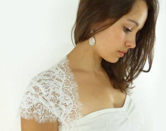 Lace Wedding Bolero Cap Sleeve Short Long Three Quarter 3/4 Bridal Shrug Eyelash Ivory Floral Romantic Soft : JOSETTE Custom Size S/M/L