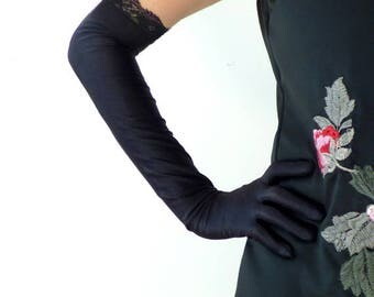 Retro Black Glove, Vintage Glove, Lace, Evening, Long, Short, Flapper Glove,Roaring 20s,Flapper Accessories,Costume Glove Great Gatsby 1920s