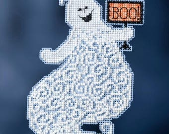 Eerie Ghost Ornament - Mill Hill Cross Stitch Kit - Halloween Ghost Ornament beaded counted cross stitch trilogy