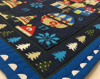 Advent Calendar Quilted Wall Hanging Holiday Decor Modern Contemporary QuiltsyHandmade