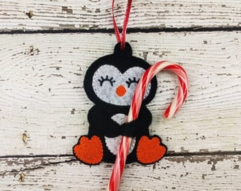 Penguin candy cane holder ~ Christmas ornament ~ Stocking stuffer ~ class gift exchange