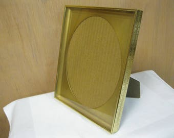 Vintage Fashionable Gold Tone Metal Large Picture Frame and Stand-Up Back Insert, Glass and a Unique Oval Molded Mat Insert Good Condition