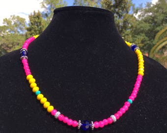 Hot Pink & Yellow Beaded Necklace