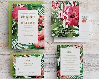 Tropical Wedding Invitations, Hawaii Wedding Invite, Beach Wedding, Maui  Wedding, Destination Wedding