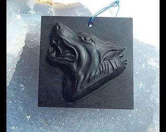 On Sale,Carved Black Stone Wolf Head Gemstone Pendant Bead,41x40x9mm,21.7g
