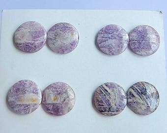 SALE,4 Pairs Purple Lace Agate Gemstone Cabochon,18x5mm,20.76g(Cpa016)