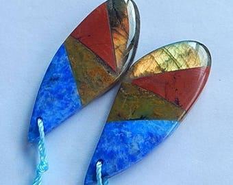 New,Yellow Opal,Labradorite,Lapis Lazuli,Red River JasperIntarsia Gemstone Earrings Bead,40x15x5mm,9.2g(E613)