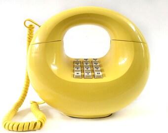 Yellow Donut Phone, Vintage Retro Telepone, Midcentury Phone, 70s Vintage Phone