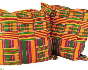 2 Kente Cloth Pillows Fuschia African Art 22 x 22 inch 91644