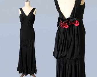 1930s Dress / 30s Black and Coral Silk Evening Gown / LOW V BACK / Amazing