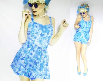 Floral Sunsuit is a Womens Vintage Playsuit, a Romper Playsuit with Built in Bra & Matching Bloomers, 40s Style Playsuit