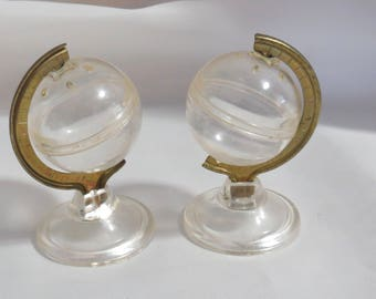 Vintage Clear Plastic Globe Salt and Pepper Shakers