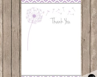 Purple dandelion thank you note,  Purple Thank You Note with dandelions, 4x6 Flat Thank You Note Cards. purple, grey-  INSTANT DOWNLOAD pd1
