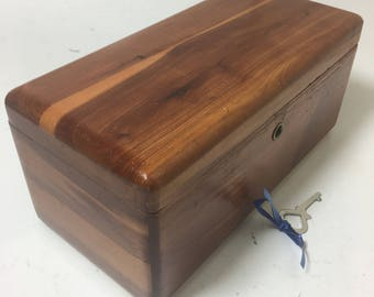 Vintage Lane Cedar Box Chest  With Key