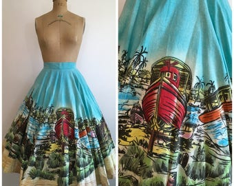 1950s Painted Mexican Skirt 50s Scenic Circle Boat Scene