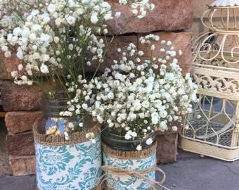 Mason Jar Wrap, Damask, Aqua & White, Mason Jar Decoration, Baby Shower, Party, Wedding Decoration