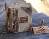 Rustic wedding guest book leather and burlap with names and date anniversary gift rustic diary travel journal