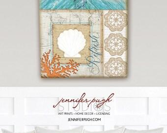 Coastal Scallop 12x12 Art Print -Coastal Living, Beach, Sea, Ocean, Shells, Living, Bathroom, Bedroom -Teal, Corral, Tan
