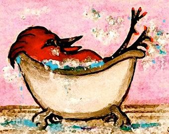 Birdbath-Whimsical Bird Art Print by SQ Streater-Free Shipping