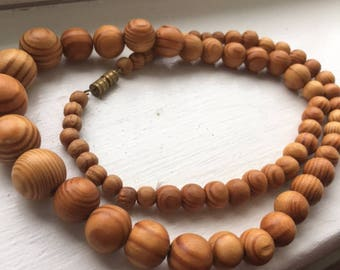 Vintage wood bead necklace, earthy jewelry, bohemian jewelry
