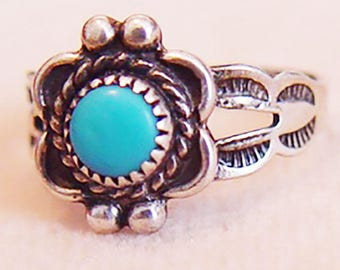 Native American Turquoise and Sterling Ring-Vintage 1950-Child's Ring Size 3.5
