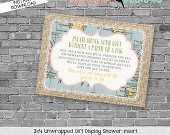 Display shower insert Unwrapped gift enclosure card Hot air balloon Adventure Awaits Gender reveal invitation Couples   1455 Katiedid Cards