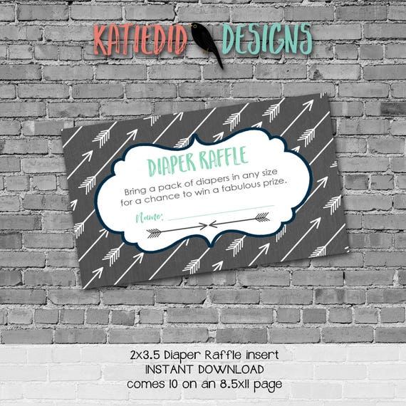 Diaper raffle INSTANT DOWNLOAD item 12120 insert enclosure card tribal arrows gray navy rustic chic baby boy diaper and wipes raffle card