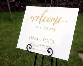 Acrylic Wedding Welcome Sign Mirror Decal Board Hashtag Vinyl
