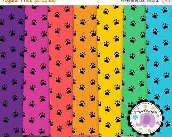 40% OFF SALE Paws Digital Paper Pack, Animal Paw Pattern Digital Scrapbook Paper, digital background, Instant Download, Commercial Use