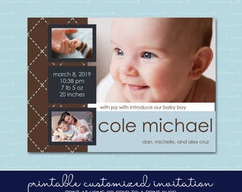 Baby Boy Blue Argyle Birth Announcement with Photo