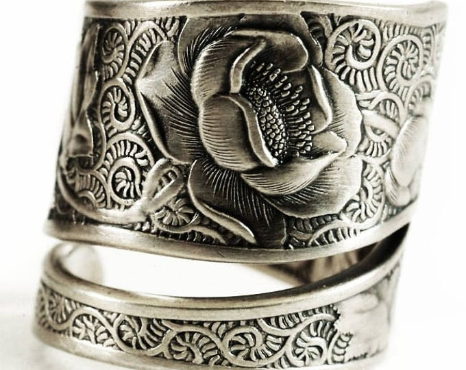 Victorian Rose Ring, Silver Rose Jewelry, Sterling Silver Spoon Ring, Flower Lover Gift, Antique Towle Sterling, Adjustable Ring Size (6672)
