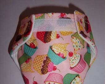 WATERPROOF(outer fabric)/ Water Resistant doll diaper for 13 to 14 inch dolls, such as baby alive, READY to SHIP - yummy cupcakes