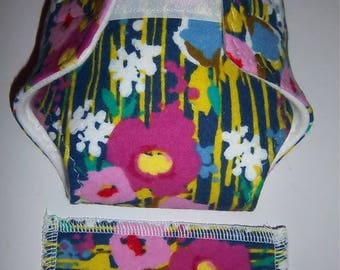 Baby Doll Diaper/wipe -pretty watercolor flowers/stems - Size Medium  - adjustable for many dolls such as bitty baby
