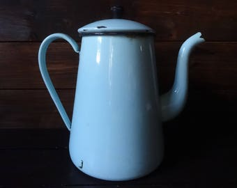 Vintage French Blue Metal Enamel Large Handled Coffee Brewing Stove Top Pot circa 1930-40's / English Shop
