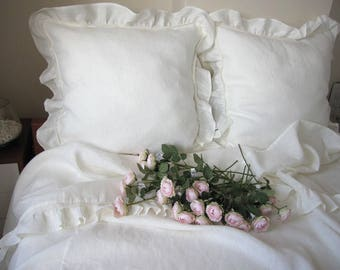 Shabby chic bedding duvet cover with euro pillow shams white cotton- Romantic  ruffle bedding European size 135x200 cm