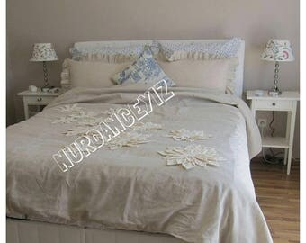 Sale Dahlia Flower Applique Bohemian bedding shabby chic duvet cover bedspread - QUeen King neutral cotton Linen custom bedding  Nurdanceyiz
