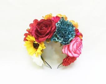 Day of the Dead Flower Crown, Headpiece, Frida Kahlo, Mexican Flower Crown, Dia de los Muertos, Mexican, Flower Headband, Huipil, Crown