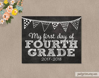 First Day of 4th Grade Chalkboard Printable Sign - 8x10 Printable First Day of Elementary School Sign - INSTANT DOWNLOAD - 500