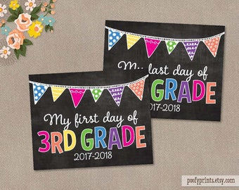 First & Last Day of 3rd Grade Chalkboard Printable Sign - Printable First Day of Elementary School Sign - INSTANT DOWNLOAD - 505