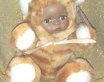 Tiger Lil 5' plush teddy bear tiger with African American porcelian face