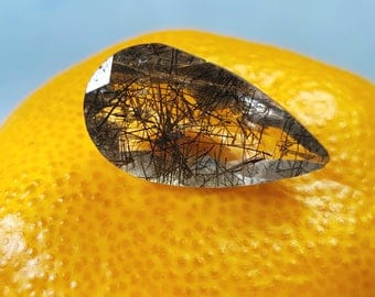 22.5mm Black Rutile drop shape faceted gem or tourmalated quartz 10.85ct 22.5 by 12 by 7mm