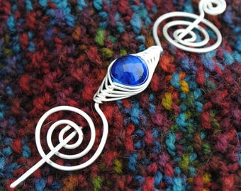 Cobalt Blue and Silver Shawl Pin