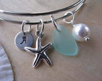 Adjustable bracelet green sea glass aqua bridesmaid bracelet starfish charm personalized letter charm beach wedding bridesmaid gift