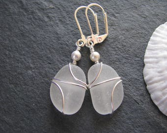 Sea Glass Earrings Beach Wedding Beach Glass Earrings Wedding Jewelry White Bridesmaids Gifts