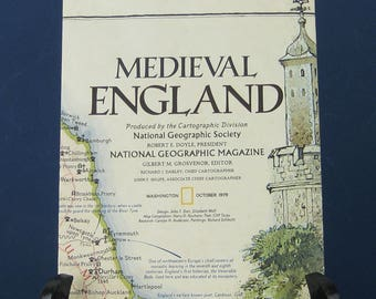 Vintage Map of Medieval England, National Geographic Society, 1979