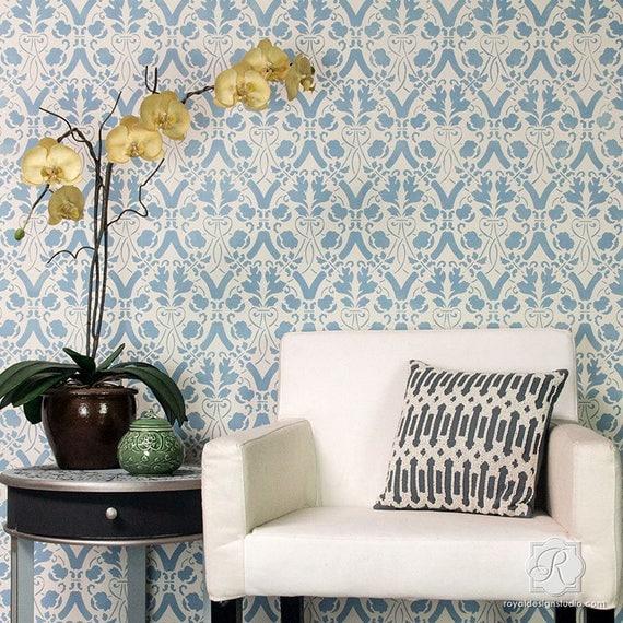 Trellis Wallpaper For Walls: Large Entwined Trellis Wallpaper Wall Stencil Decorative