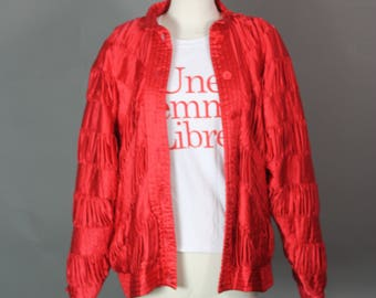 Vintage 80s 90s Silk Bomber Jacket Quilted Pleated Intricate Jacket